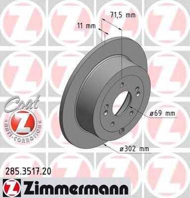 Тормозной диск ZIMMERMANN 285.3517.20 - изображение