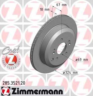 Тормозной диск ZIMMERMANN 285.3521.20 - изображение