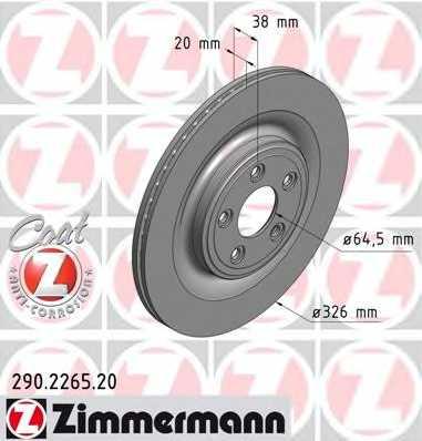 Тормозной диск ZIMMERMANN 290.2265.20 - изображение