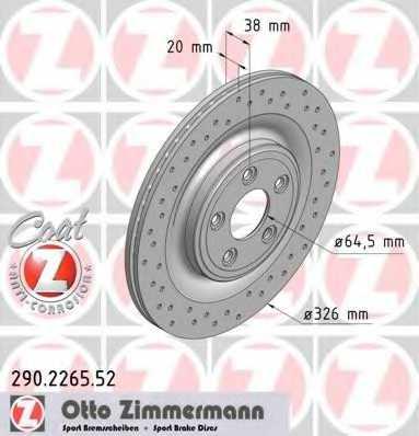 Тормозной диск ZIMMERMANN 290.2265.52 - изображение