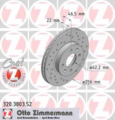 Тормозной диск ZIMMERMANN 320.3803.52 - изображение