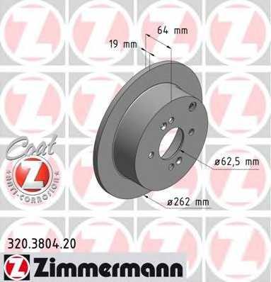 Тормозной диск ZIMMERMANN 320.3804.20 - изображение