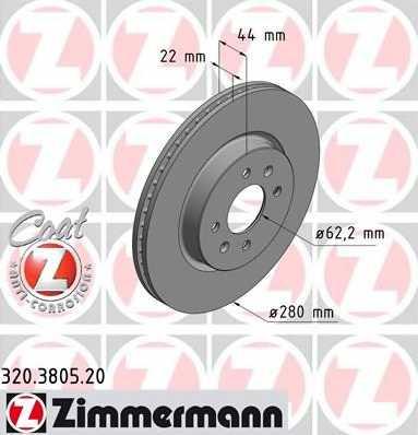 Тормозной диск ZIMMERMANN 320.3805.20 - изображение