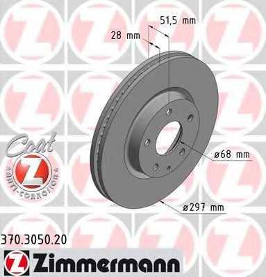 Тормозной диск ZIMMERMANN 370.3050.20 - изображение