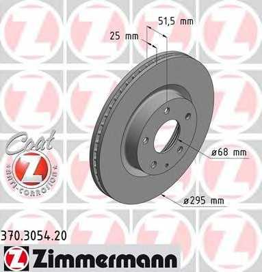 Тормозной диск ZIMMERMANN 370.3054.20 - изображение