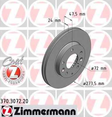 Тормозной диск ZIMMERMANN 370.3072.20 - изображение