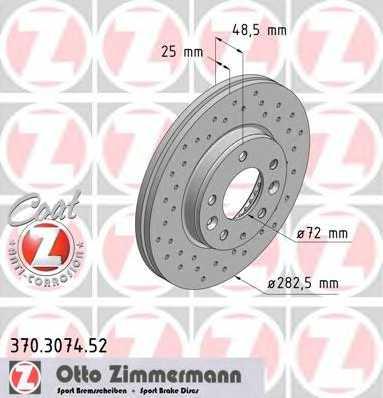 Тормозной диск ZIMMERMANN 370.3074.52 - изображение
