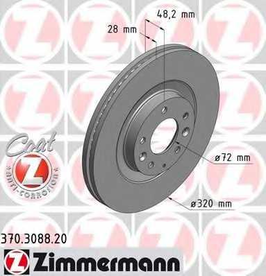 Тормозной диск ZIMMERMANN 370.3088.20 - изображение