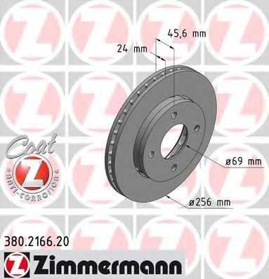 Тормозной диск ZIMMERMANN 380.2166.20 - изображение