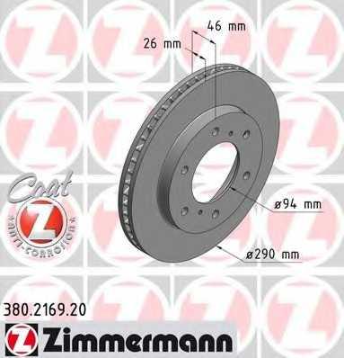 Тормозной диск ZIMMERMANN 380.2169.20 - изображение