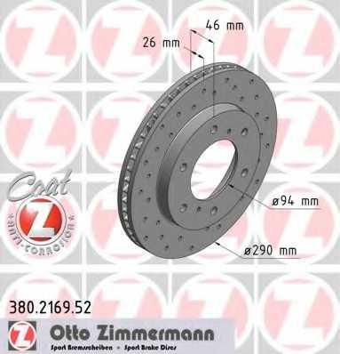 Тормозной диск ZIMMERMANN 380.2169.52 - изображение