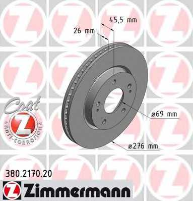 Тормозной диск ZIMMERMANN 380.2170.20 - изображение