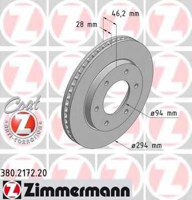 Тормозной диск ZIMMERMANN 380.2172.20 - изображение