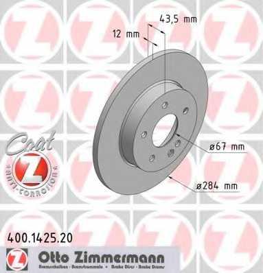 Тормозной диск ZIMMERMANN 400.1425.20 - изображение