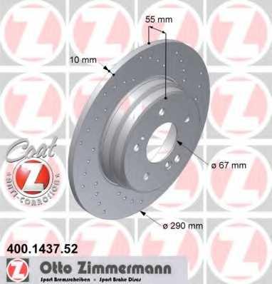 Тормозной диск ZIMMERMANN 400.1437.52 - изображение