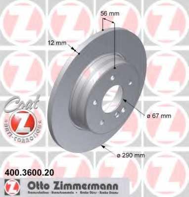 Тормозной диск ZIMMERMANN 400.3600.20 - изображение