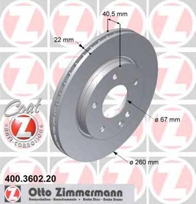 Тормозной диск ZIMMERMANN 400.3602.20 - изображение