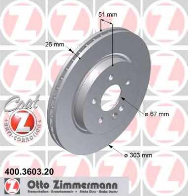 Тормозной диск ZIMMERMANN 400.3603.20 - изображение