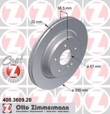 Тормозной диск ZIMMERMANN 400.3609.20 - изображение