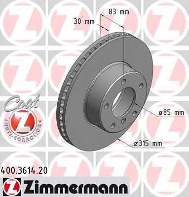 Тормозной диск ZIMMERMANN 400.3614.20 - изображение