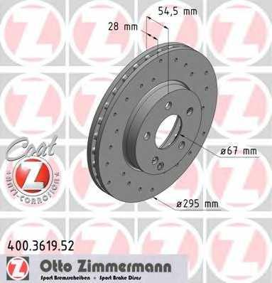 Тормозной диск ZIMMERMANN 400.3619.52 - изображение