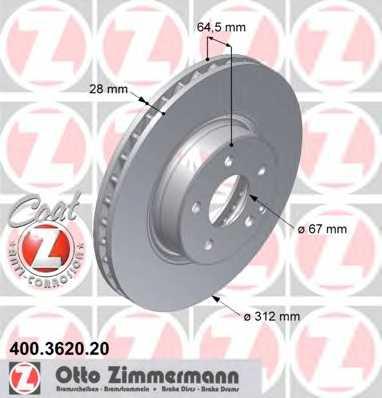 Тормозной диск ZIMMERMANN 400.3620.20 - изображение