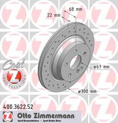 Тормозной диск ZIMMERMANN 400.3622.52 - изображение