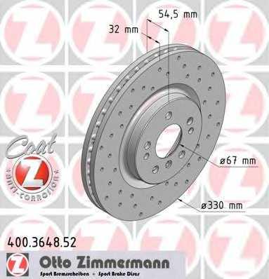 Тормозной диск ZIMMERMANN 400.3648.52 - изображение