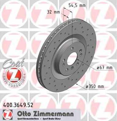 Тормозной диск ZIMMERMANN 400.3649.52 - изображение