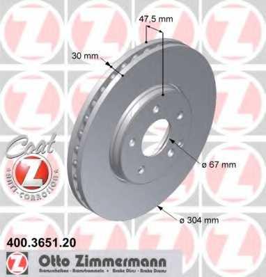 Тормозной диск ZIMMERMANN 400.3651.20 - изображение