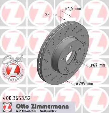 Тормозной диск ZIMMERMANN 400.3653.52 - изображение