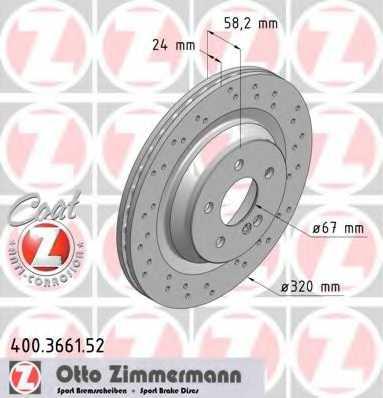 Тормозной диск ZIMMERMANN 400.3661.52 - изображение