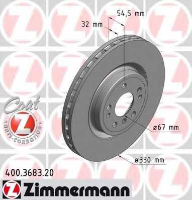 Тормозной диск ZIMMERMANN 400.3683.20 - изображение