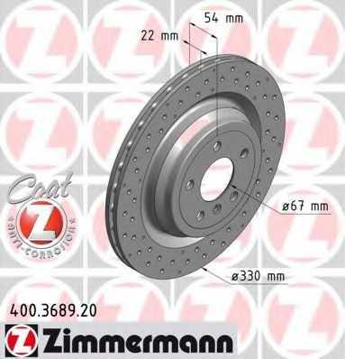 Тормозной диск ZIMMERMANN 400.3689.20 - изображение