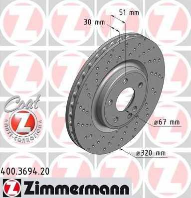 Тормозной диск ZIMMERMANN 400.3694.20 - изображение