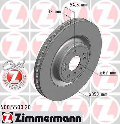 Тормозной диск ZIMMERMANN 400.5500.20 - изображение