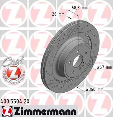 Тормозной диск ZIMMERMANN 400.5504.20 - изображение