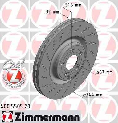 Тормозной диск ZIMMERMANN 400.5505.20 - изображение