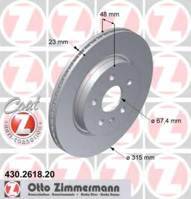 Тормозной диск ZIMMERMANN 430.2618.20 - изображение