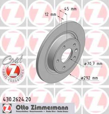 Тормозной диск ZIMMERMANN 430.2624.20 - изображение