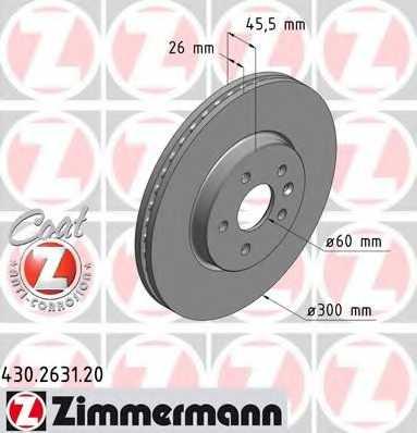 Тормозной диск ZIMMERMANN 430.2631.20 - изображение