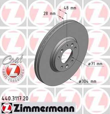 Тормозной диск ZIMMERMANN 440.3117.20 - изображение