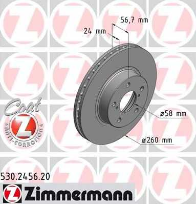 Тормозной диск ZIMMERMANN 530.2456.20 - изображение