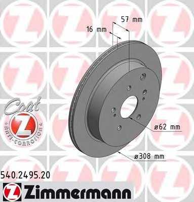 Тормозной диск ZIMMERMANN 540.2495.20 - изображение