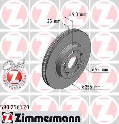 Тормозной диск ZIMMERMANN 590.2561.20 - изображение