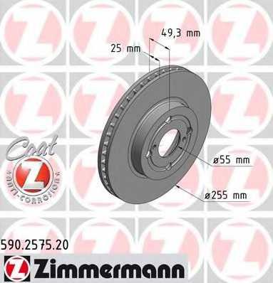 Тормозной диск ZIMMERMANN 590.2575.20 - изображение