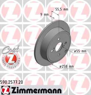 Тормозной диск ZIMMERMANN 590.2577.20 - изображение