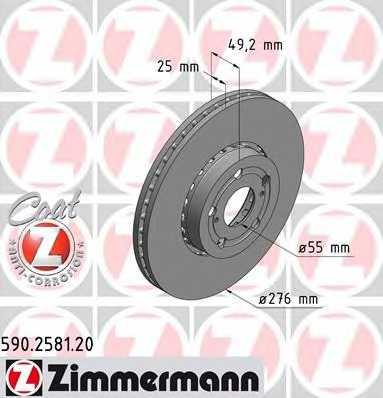 Тормозной диск ZIMMERMANN 590.2581.20 - изображение