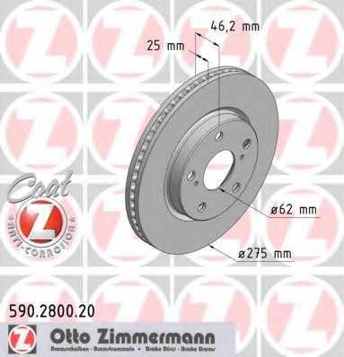 Тормозной диск ZIMMERMANN 590.2800.20 - изображение