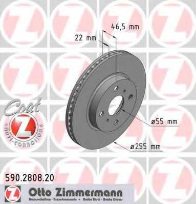 Тормозной диск ZIMMERMANN 590.2808.20 - изображение